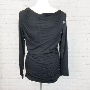 ♡ Surroundings|Black Cowl Neck Long Sleeve Tee